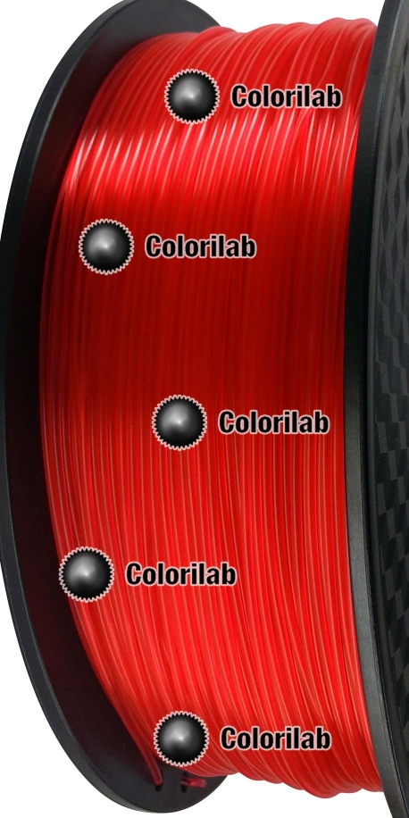 3D printer filament 3.00mm PLA translucent red 185C
