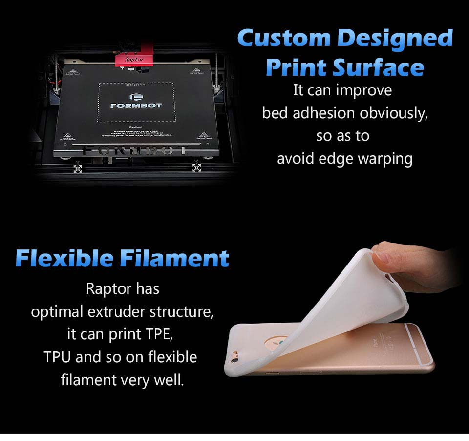 FormBot Raptor Print Bed Surface is Flexible 3D Filament ready