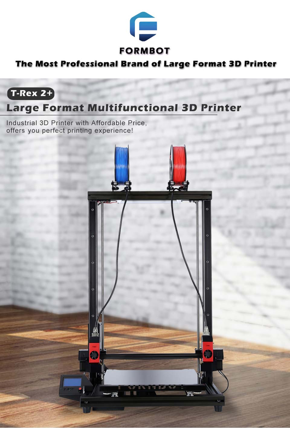 FormBot T-Rex 2+ plus 700 Extended 3D printer Free Shipping Free 3D Filaments