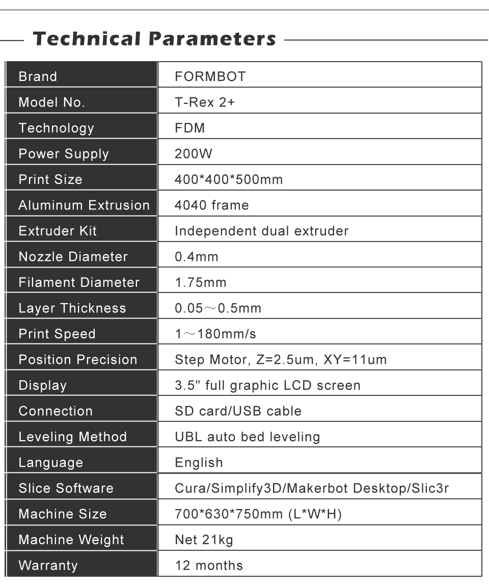 T-Rex 2+ datasheet specifications technical parameters