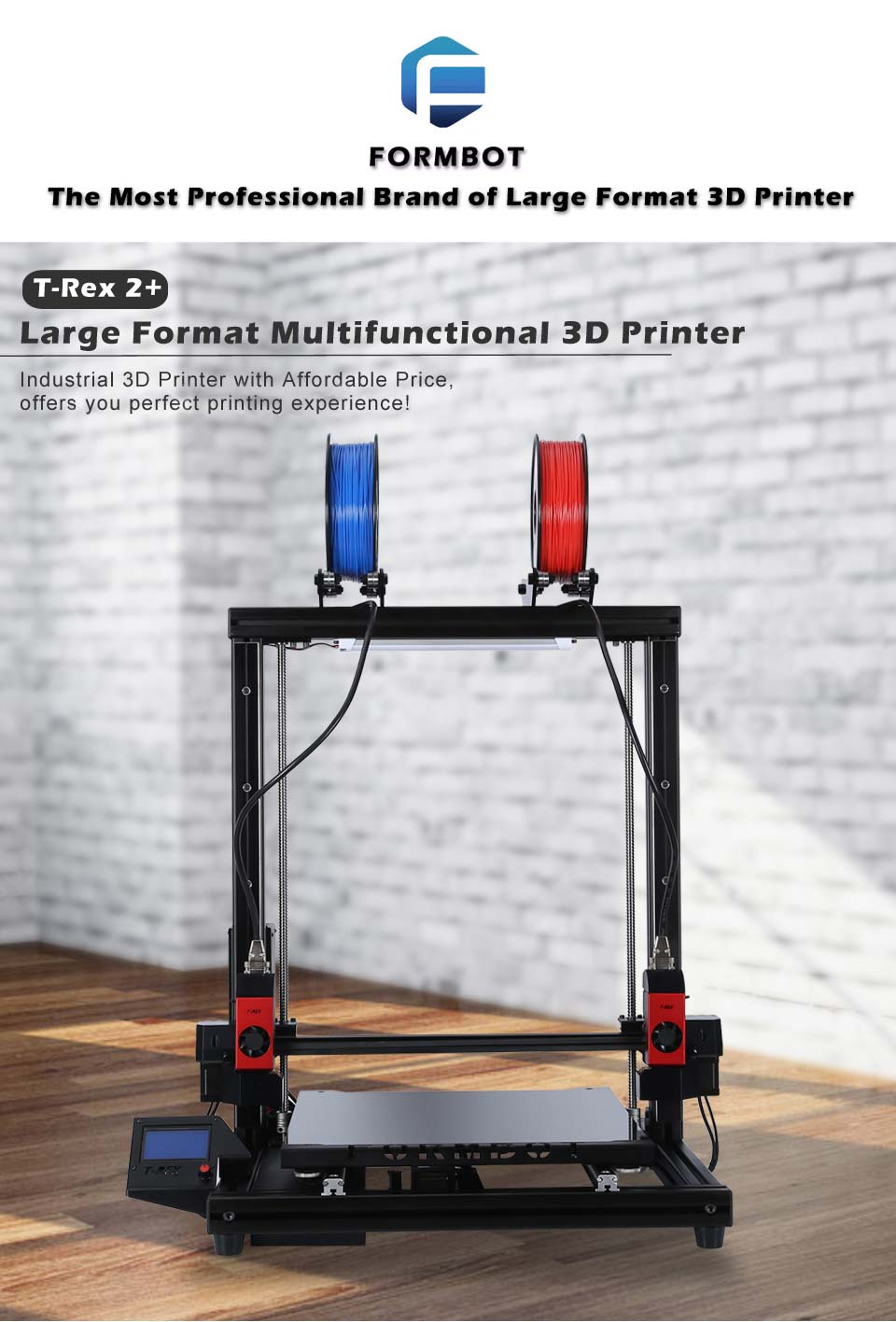 FormBot T-Rex 2+ plus 3D printer Free Shipping Free 3D Filaments