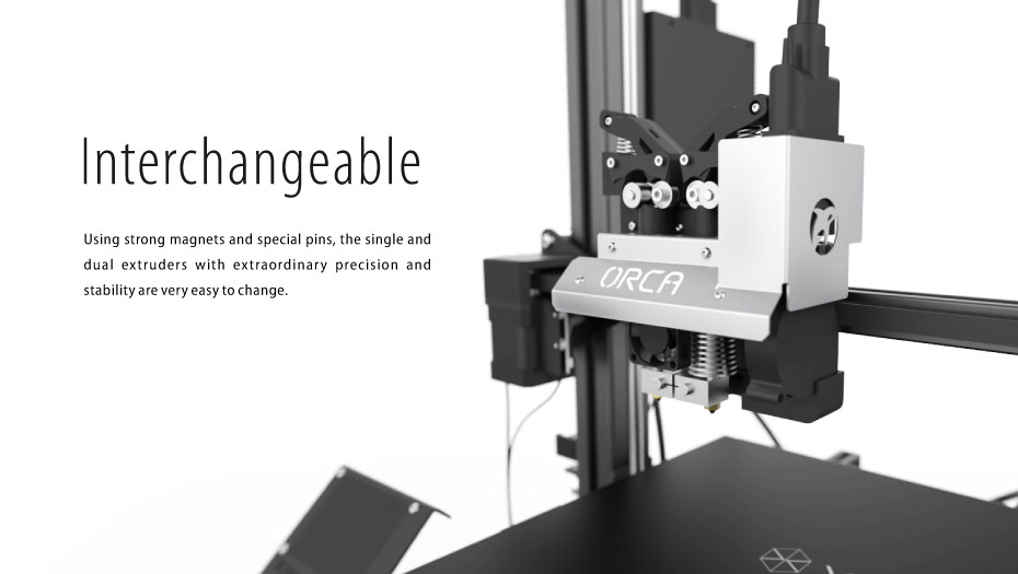 swappable magnets dual extruder 3d printer