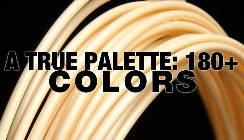 Over 180 3D printer filament colors; specified d'impression 3D
