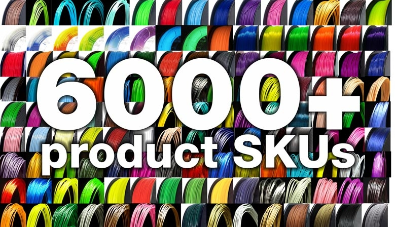 6000+ 3D printer filament SKUs
